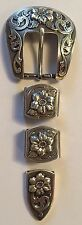 "Western Rodeo Floral Silver Engraved 4 piece  1"" Belt  Buckle Set Cowboy"