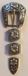 "Western Rodeo Floral Silver Engraved 4 piece  1"" Belt  Buckle Set Cowboy"