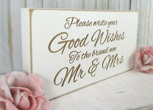 Guest Book Wedding Sign Free Standing Vintage Shabby & Chic White
