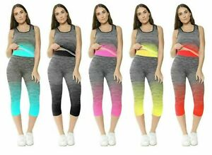 *2 Pcs* Women's Yoga Running Fitness Gym Work Out Leggings 3/4 and Vest Top Set