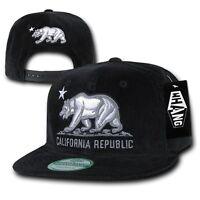 Black California Republic Bear Vintage Corduroy Flat Bill Snapback Snap Cap Hat