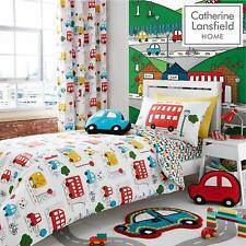 Catherine Lansfield Kids Transport Multi Duvet Set Reversible Bedding Curtain