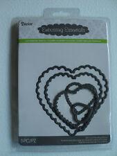 DARICE DIE CUT EMBOSSING STENCIL NESTING SCALLOP HEARTS 2014-12 BNIP *FREE P&P*