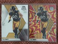 2020 Mosaic TJ Watt Reactive Orange + Base Card SP - Pittsburgh Steelers