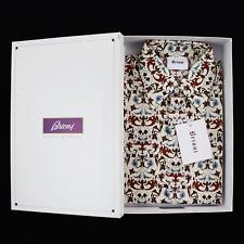 $600 NIB BRIONI Cream Bluette Paisley Slim Fit Point Collar Casual Shirt M