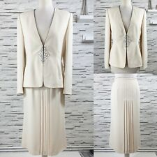 JACQUES VERT Cream Jacket & Skirt Suit Beaded & Pleat Detail Mother Of The Bride