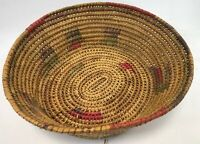 """Vintage 14"""" Egyptian Northern African Polychrome Reed Straw Woven Coil Basket"""