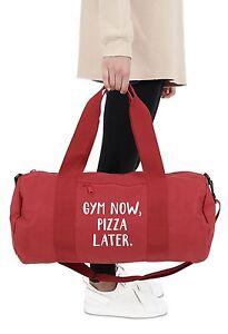 Gym Now Pizza Later Barrel Gym Bag Duffel Fitness Slogan Yoga Weightlifting