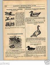 1936 PAPER AD Illinois River Folding Duck Decoys Paper Stake Out Norflight