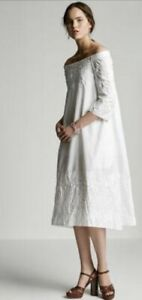 Scanlan Theodore White Cotton Broderie Anglaise Off The Shoulder Maxi Dress S/M