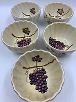 Tabletops Unlimited Villa Grande Set Of 5 Jumbo Bowls Hand Painted Grapes *READ