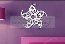 Floral Star Acrylic Plastic Mirrors Wall Home Decal Decor Vinyl Art Stickers DIY