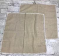 """2 Vintage Handkerchiefs Hanky Napkins - Natural Linen With Lace Edge Trim 14.5"""""""