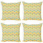Ambesonne Chevron Zigzag Cushion Cover Set of 4 for Couch and Bed in 4 Sizes