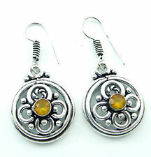925 Silver plated Yellow Citrine stone antique ethnic Indian Earrings 1141