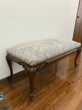 Antique Bench with Fabric Upholstery