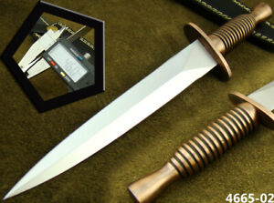 HANDMADE STAINLESS STEEL BRITISH COMMANDO TACTICAL HUNTING DAGGER KNIFE (4665-2