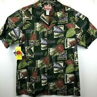 New RJC Men's Large L Short Sleeve Button Front Hawaiian Shirt NWT Turtle Fish
