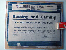 "Hotel Sign : NO BETTING OR GAMING"" Or you will be Banned"""