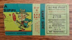 Ole Miss Rebels Georgia Bulldogs Football Ticket Stub 10/9 1976 UGA QB Ray Goff