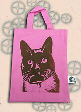Black Cat Pink Bag Linocut Hand Printed Small Tote Shopping Animal