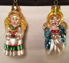 Glass Christmas Ornaments Angels Blown Glass Glitter Set of 2