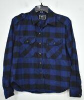 Forever 21 Girls Blue Plaid Long Sleeve Button Front Curve Hem Cotton Shirt S