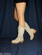 Women Grey Mid Calf Boots Military real suede Zipped Lace Next Size 4