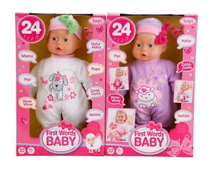 Bayer Design Funktionspuppe First Words Baby,weiss, Lila,  38 cm