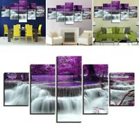 5Pcs/Set HD Canvas Print Modern Scenery Waterfall Wall Art Painting Home Decor