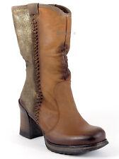 BUNKER Stiefel 37 Nappa LEDER Cognac Braun Gold Brush Plateau Portugal Boots NEU