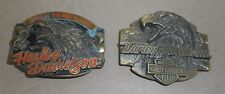 (2) Vintage Harley Davidson Belt Buckle Born to be Wild X88 Screaming Eagle P-88