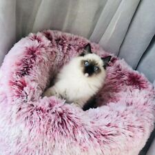 Round Lux Fur Donut Cuddler Cat and Dog Cushion Pet Bed ,Orthopedic Relief