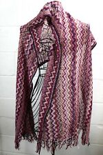 MISSONI Multi-Color Magenta Pink Red Zig Zag Print Knit Mohair Shawl Wrap Scarf