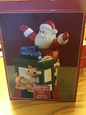 Lenox Rudolph and Santa Covered Candy Dish 2002 New In Box Still In Plastic!