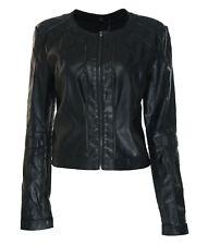 Guess Women's Long Sleeve Ivonne Faux Leather Moto Jacket Black Size Medium
