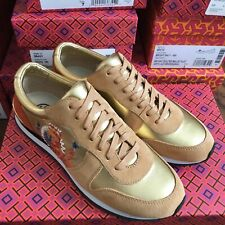 NIB Auth Tory Burch Gold Brielle Logo Trainer Lace Up Leather Sneakers 6.5 $225