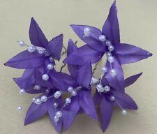 5Wedding Prom Light Purple Lily Flower Hair Pins Clips Grips handmade