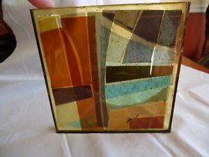 Mid Century LIBBY-PRATT STUDIOS STAINED GLASS SAMPLE Tile Cedarville, Mass #1