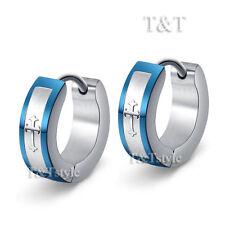 TRENDY T&T Blue Stainless Steel Cross Hoop Earrings (EL09)