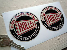 OLD HOLLEY Black & Beige Round Car STICKERS 3in Vintage Retro Hot Rod Custom Car