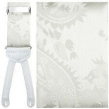 White Silk Paisley Suspenders with Silver Hardware and Woven Ends