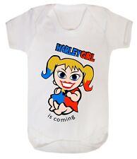 Harley Quinn Girl Bodysuits Babygrow Playsuit Gift Costume 100% Cotton 0-24