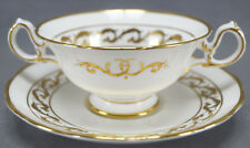 Pair of Grosvenor Bone China Romance Pattern Bouillon Cups & Saucers Circa 1950s
