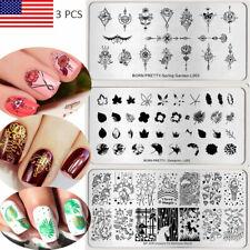 3Pcs BORN PRETTY Spring Flower Nail Art Stamping Plates Kits DIY Template