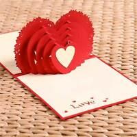 Biglietto auguri rosso cuore amore fidanzati san valentino origami 3D kirigami