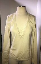 Wolford Cashmere V - Neck Top Long Sleeve Size: Large Color: Cream  59178 - 70