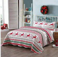 Christmas Reindeer Holidays Red White Twin Quilt & Sham Set (2 Piece Bedding)