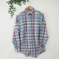 Brooks Brothers Men's Long Sleeve Button Front Collared Shirt S Small Plaid