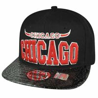 Windy City Chicago Toned Snake Skin Metallic Black Flat Bill Snapback Hat Cap